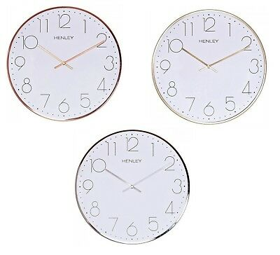 Henley White Dial 30cm Polished Metal Case Slim Wall Clock HCW001