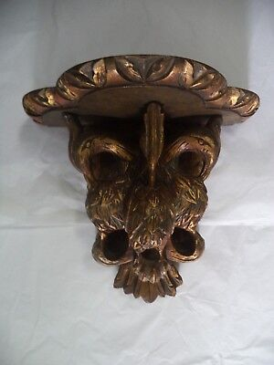 ANTIQUE CORBEL / PEDESTAL WOOD CARVED w/ BIRDS - GOLD LEAF