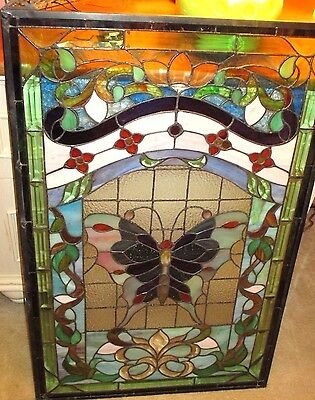 Nice Stained Glass With Butterfly Local Pickup Delray Beach No Shipping 22.5-35
