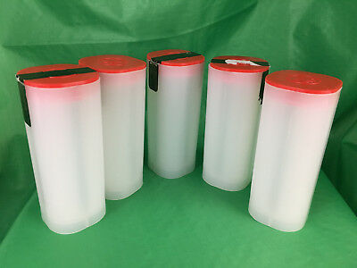 Empty Canadian Silver Maple Leaf Tubes, Lot of 5, Red Lid, No Coins