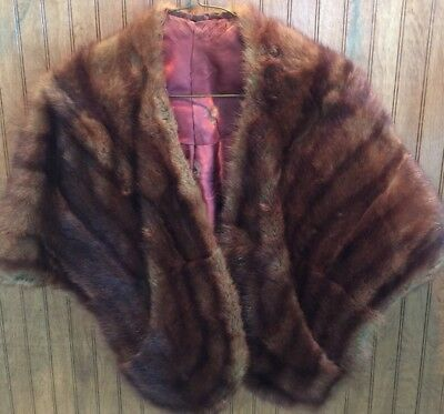 Vintage 1950's mink fur stole Wrap Shawl  Brown Silk Lined
