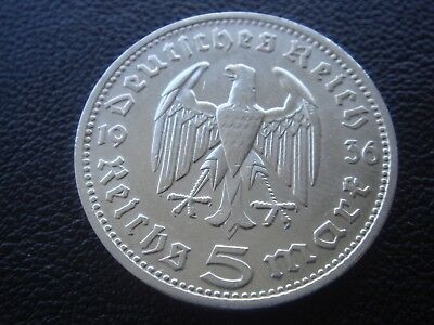 Germany 1936 D Hindenburg 5 Reichsmark mark silver Coin Third reich   H2