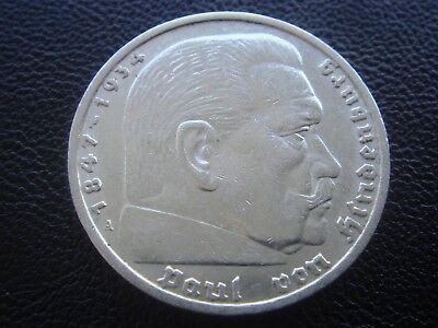 Germany 1936 A Hindenburg 5 Reichsmark mark silver Coin Third reich   H1