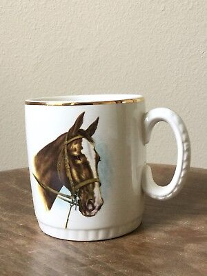 Vintage English Equestrian Bridle Horse Hunt Cap Mug Cup, Lord Nelson Pottery
