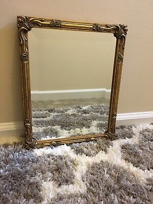 Vtg Hand Carved Wall Hanging Mirror Gold