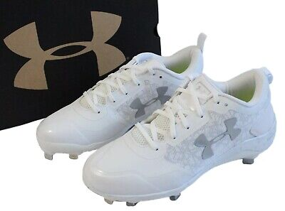 e5557cfbf Under Armour Mens Size 8 Yard Low ST Baseball Cleats White 1293900-100 Shoes