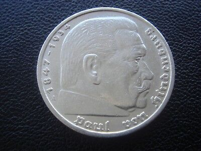 Germany 1936 A Hindenburg 5 Reichsmark mark silver Coin Third reich   H3