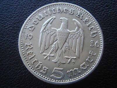 Germany 1936 A Hindenburg 5 Reichsmark mark silver Coin Third reich   H4