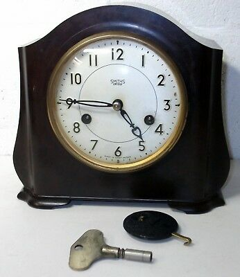 Vintage Art Deco 'Smiths' 8-Day Bakelite Case Striking Mantel Clock