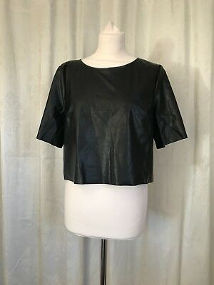 H&M Divided Faux Leather Crop Top Size 16 Blogger Favourite