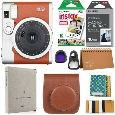 Fujifilm Instax Mini 90 Instant Camera + 20 Instax Film + Accessories Bundle