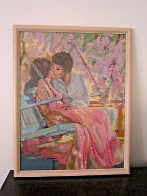 Large 90's Romantic Colorful Framed Tapestry Needlepoint Lovers On Porch Swing.