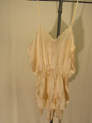 100% Silk Ivory Teddy Lingerie  hand embroidered  in Jiangsu China Size L