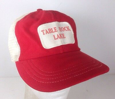 Vintage Table Rock Lake Snapback Trucker Hat Cap Red White Mesh Patch Made USA