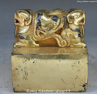 Chinese Old Bronze Gold Gilt Ancient Double Head Beast Pixiu Seal Stamp Signet