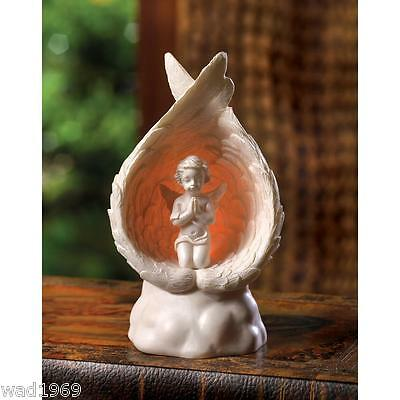 Light-Up Praying Angel Figurine With Wings Surround - New