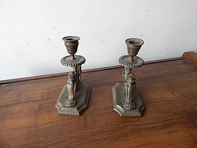 Antique Art Deco Bronze Griffon Birds Candle Holders Nice Condition Intrntl Sale