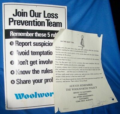 Vintage F.W. WOOLWORTH Employee Posters CUSTOMER SERVICE & LOSS PREVENTION
