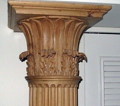 ca1820 Pair 7ft Yellow Pine Corinthian Columns Carved by John Rehan Ireland