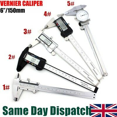 "UK 6"" 150mm Stainless Digital Vernier Caliper Micrometer Measure Electronic Tool"