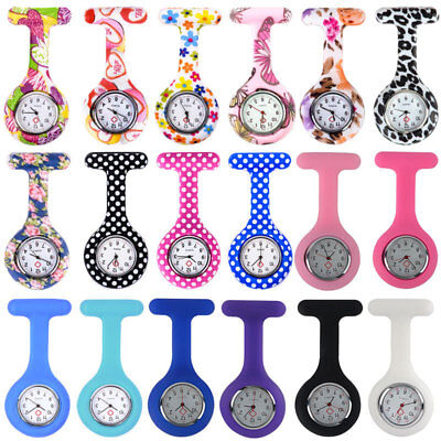 Nurse Watch Brooch Tunic Gel Nurses Fob Watches In Various Design & FREE BATTERY
