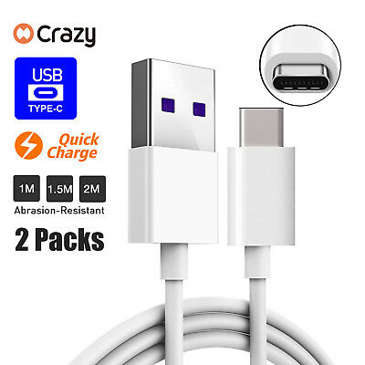 2x Type C Data USB Charger Charging Cable Cord For Samsung S8 S9 S10 Huawei Mi