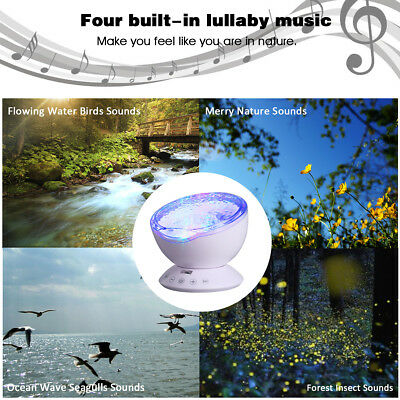 Ocean Wave Projector 12 LED 7 Colors Night Light with Mini Music Remote Control