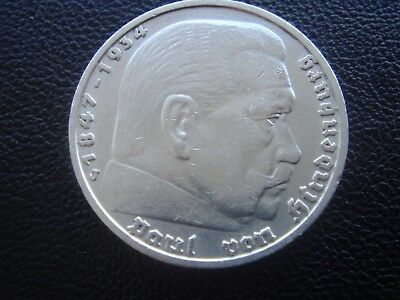 Germany 1936 J Hindenburg 5 Reichsmark mark silver Coin Third reich   H