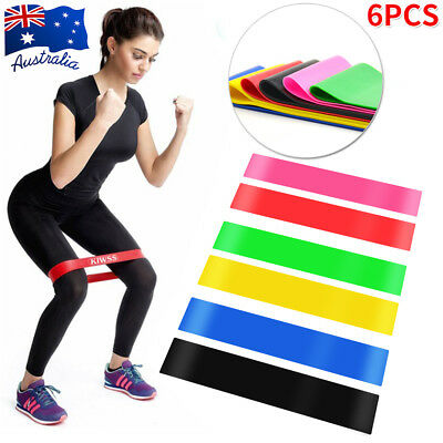 Set of 6 Resistance Exercise Loop Bands Home Gym Fitness Training Natural Latex