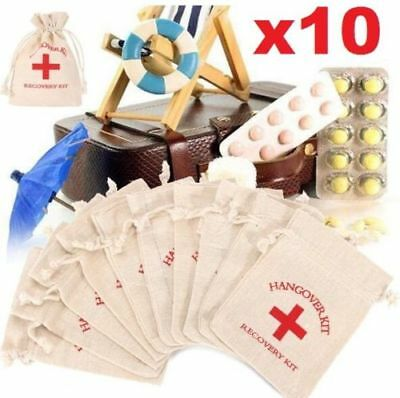X10 Home Wedding Hangover Recovery Kit Cotton Linen First Aid Bag Party Supply ♫