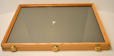 "Handmade Display Case Oak 2""x18""x24"" Two Timbers Wood Box with Glass Top,"