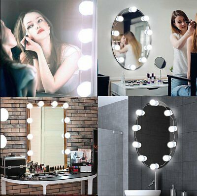 Hollywood Style 10 LED Vanity Mirror Lights Kit for Makeup Dressing Table Set