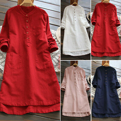 ZANZEA AU 8-24 Women Long Sleeve Kaftan Tunic Top Blouse T Shirt Cotton Dress
