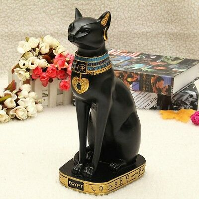 US 9.6'' Resin Vintage Egyptian Bastet Black Cat Statue Figurine Goddess Pharaoh