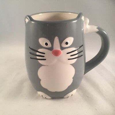 TAG Cup Figural 3D Mug 16 Oz Gray Cat Coffee Tea Hand Painted Collectible