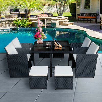 9pc cube rattan garden furniture set chairs sofa dining table