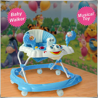 Smart Blue Baby Walker First Step Activity Musical Toy Push Along Ride On Bright