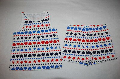 Toddler Girls TANK TOP & KNIT SHORTS Red White Blue HEARTS STARS DOTS Outfit 2T