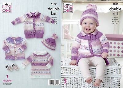 KINGCOLE 5137 Baby DK Knitting Pattern -sizes 18-24in - Not the finished items