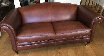 Laura Ashley Gloucester Brown Lansdowne Leather Sofa Large 2 Seater