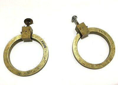 """Vintage Pair of 3"""" x 1/4"""" Round Brass Drawer Pulls Handles Lift and Pull K4018"""