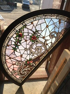 SG 2242 incredible stained Beveled Jeweled Arch Window28 x 56