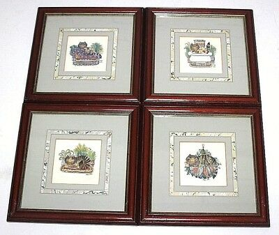 Set of 4 Vintage Framed Print Limited Edition Kitten Watercolour Signed [PL4377]