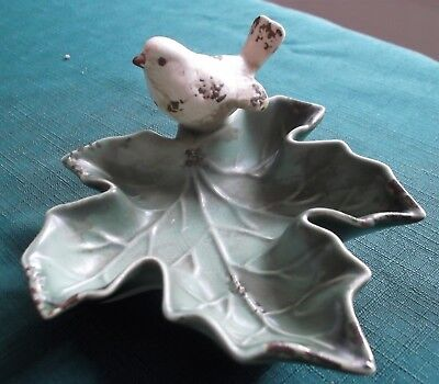 Victorian Trading Ceramic Sparrow Bird on  Maple Leaf Decorative Dish