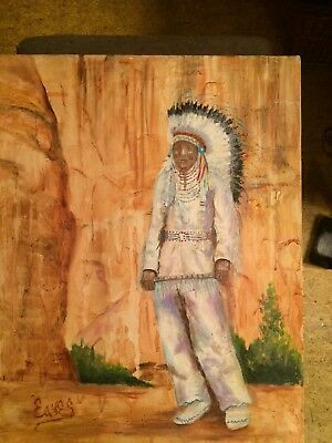 Vintage Original Painting of/by Native American Indian