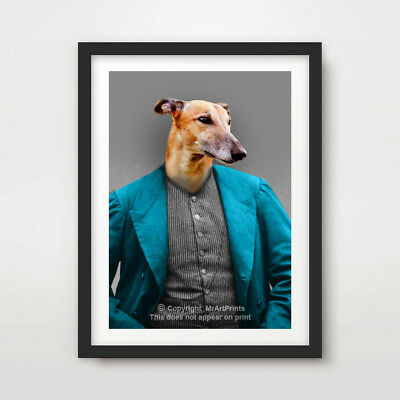 GREYHOUND DOG ART PRINT POSTER Breed Funny Quirky Portrait Owner Gift Present