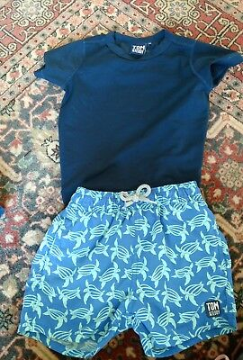 tom and teddy boys swim trunks and rashguard