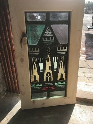SG 2250 antique painted and fired Stainglass window houses of the holy 15 1/8 x…