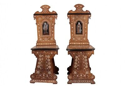 Pair Of Antique Italian Palace Inlaid Hall Chairs, Ca. 1860 (71815)