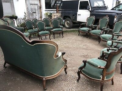 Rare Antique French Rosewood Salon Set 6 Dining Chairs 6 Carvers 1 Sofa 2 Gents